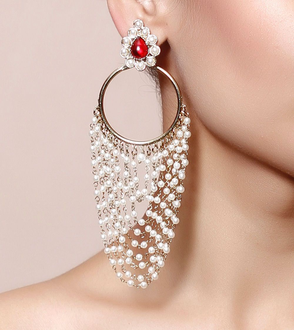 #White & #Red Embellished Brass #Earrings by #Rooh at #Indianroots