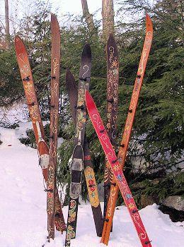Ski Coat Rack Norwegian Rosemaling Ski Decor
