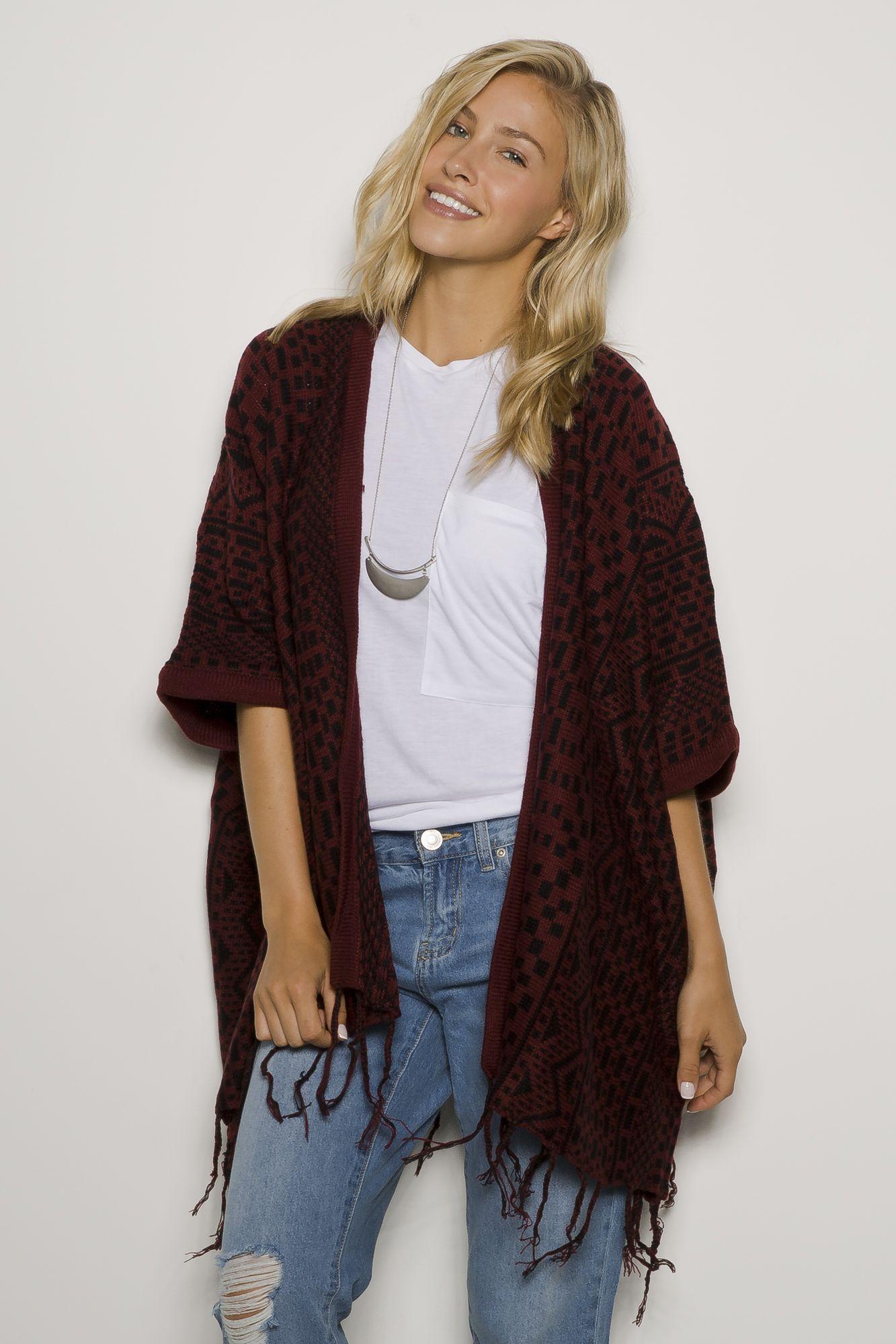 Girls Aztec Fringe Bottom Open Blanket Sweater