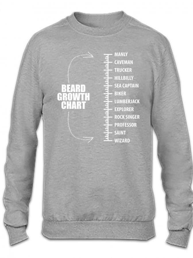 Beard Growth Chart 1 1 Crewneck Sweatshirt Products Pinterest