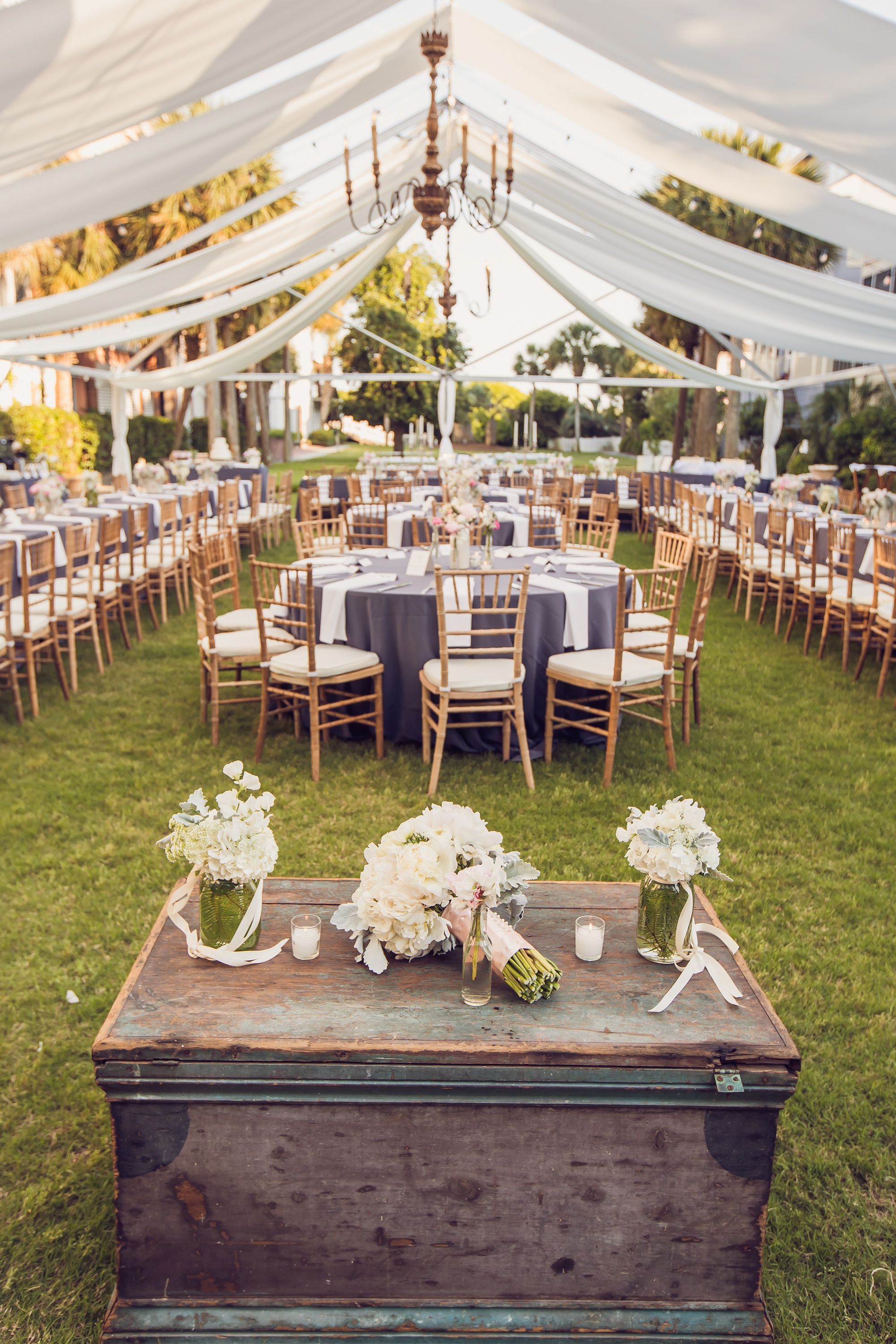 Weddings at Wild Dunes Resort | Beautiful Charleston, SC tented reception on the croquet lawn steps from the Atlantic Ocean. : Richard Bell Photography