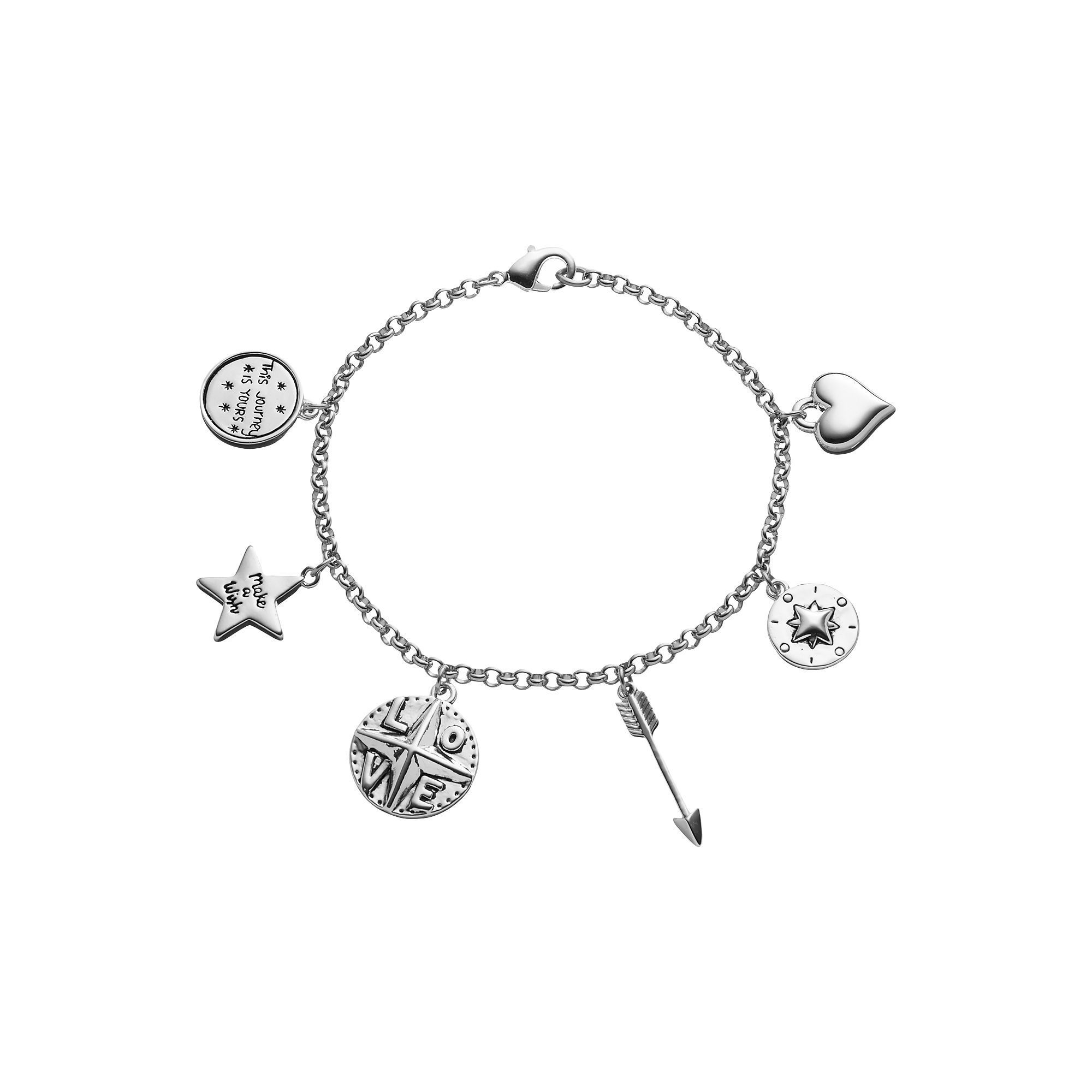 "love this life ""Make a Wish"" Compass & Arrow Charm Bracelet, Women's, Grey"
