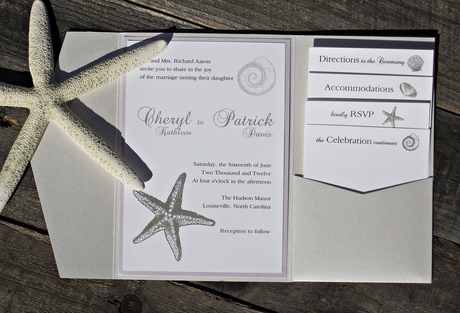 Starfish Beach Pocketfold Wedding Invitation Elegant Classic Ocean Sea With Purple And White Purchase This Listing For A Sample 7 50 Via Etsy