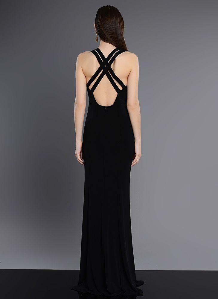 Sexy Abendkleid Lange Schwarze Damen Cocktailkleid rückenfrei ...
