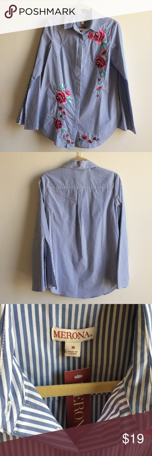 7f2a1cab630cc2 Merona Embroidered Blue Button Down Shirt Blue   white pinstripe blouse  features red   pink floral