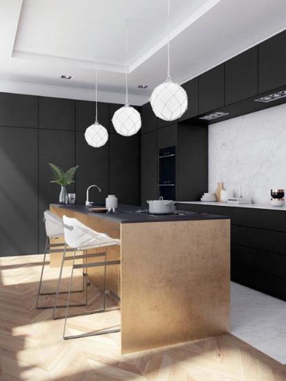 kitchen designs black and white