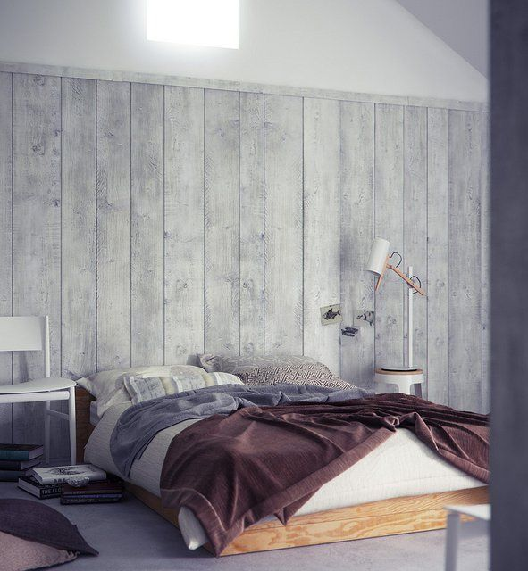 Reclaimed Wood Wall Paneling Home Interior Bedroom Design