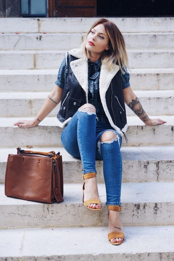 Comment porter un jean troué ? Caroline receveur, Mode