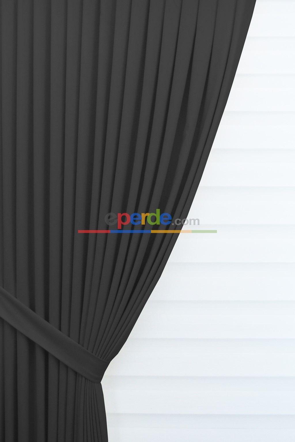 Siyah Renk Düz Fon Perde (soft) Çok Dökümlü