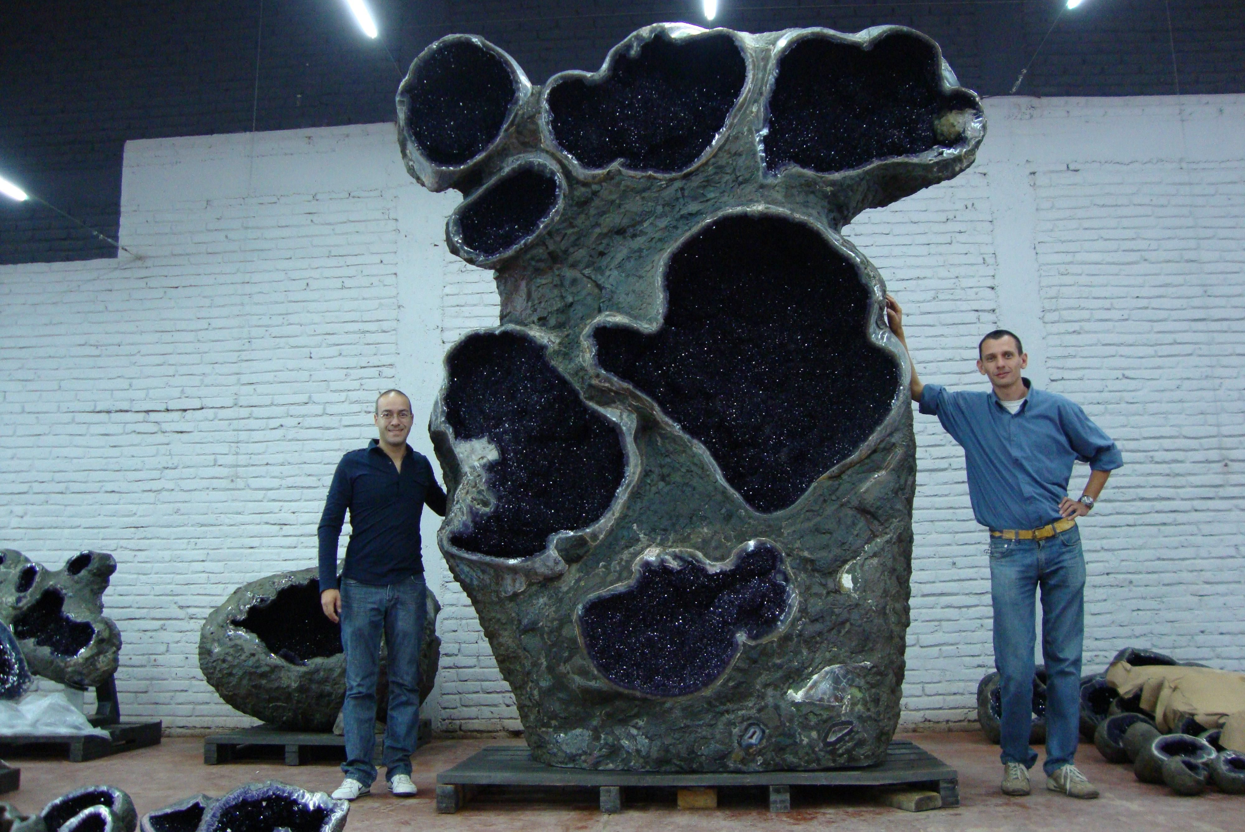 PsBattle: These dudes standing next to a giant amethyst geode