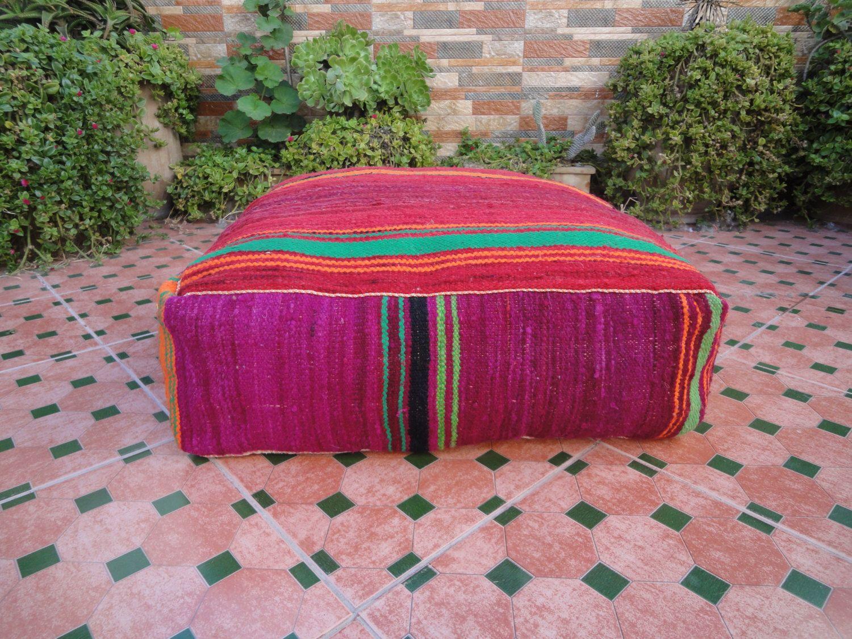 Kilim Pouf Ottoman 24x24 Pouf Ottoman Berber Moroccan Pillow