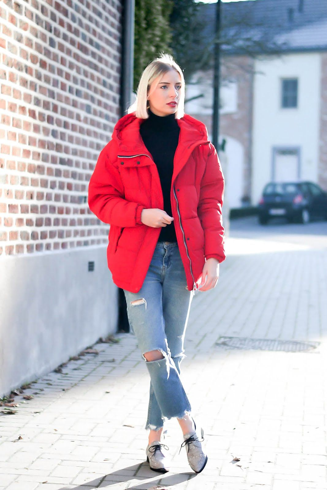 Red puffer jacket Ropa, Invierno