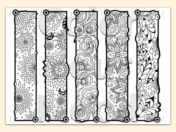 Printable: coloring zendoodle bookmarks by ColorYourMood on Etsy ...
