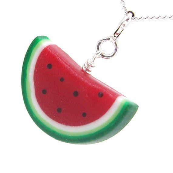 Fruit Fruit Jewelry Fruit Necklace Polymer Clay Watermelon Food Jewelry Handmade Summer Necklace Fruit Charms Watermelon Necklace
