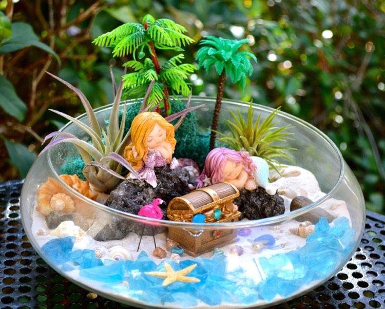 Minigarten Gestalten mini garten meerjungfrau glas arrangement strand palmen