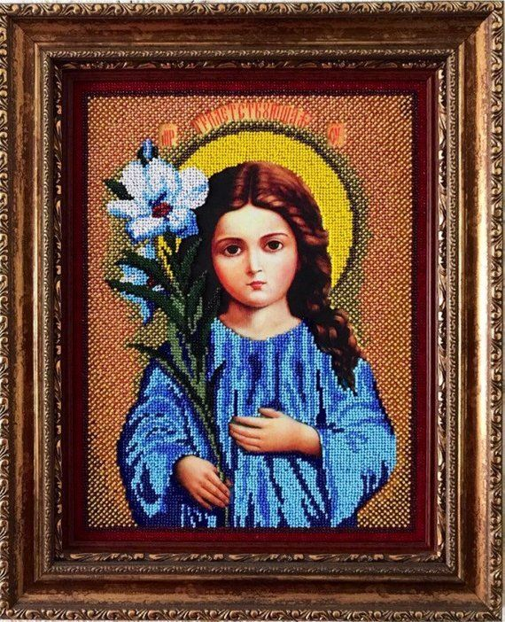 Icons orthodox bead Blessed Mother handmade embroidery Theotokos