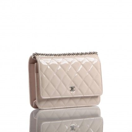 e832d92a0ebd Chanel Light Pink Beige Quilted Patent Leather WOC Wallet on a Chain Bag