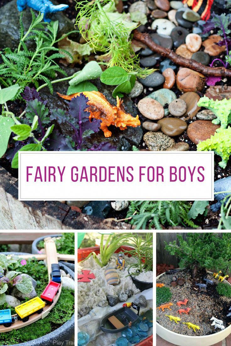 Boys Like Miniature Gardens Too So Be Sure To Include Them In Your Fairy Garden Making See These Ideas Kids Fairy Garden Gardening For Kids Fairy Garden Diy