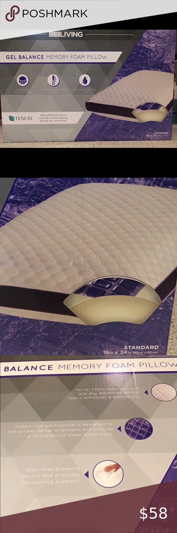 Lux Living Gel Balance Memory Foam Pillow Nwt In 2020 Memory Foam Pillow Foam Pillows Memory Foam