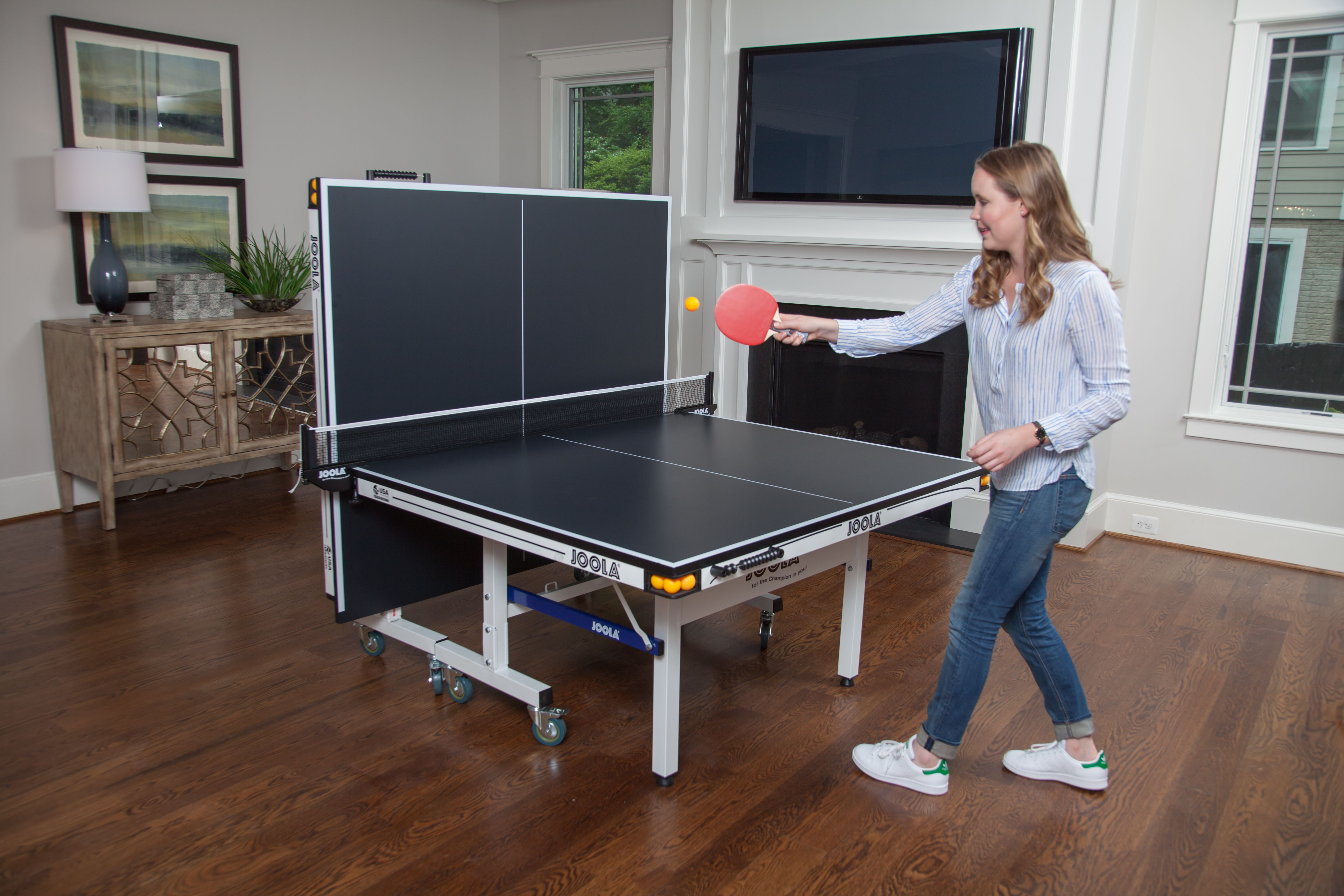 The 2 Piece Joola Rapidplay 180 Table Tennis Table Allows For Solo Playback Mode So You Can Practice Ping Pong Without A Table Tennis Ping Pong Durable Table
