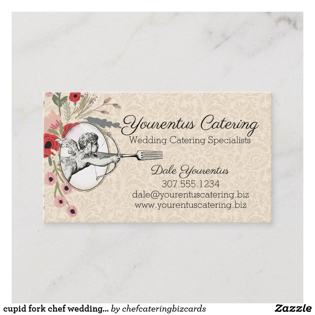 Cupid Fork Chef Wedding Catering Business Card Zazzle Com Catering Business Cards Wedding Catering Menu Wedding Catering Near Me