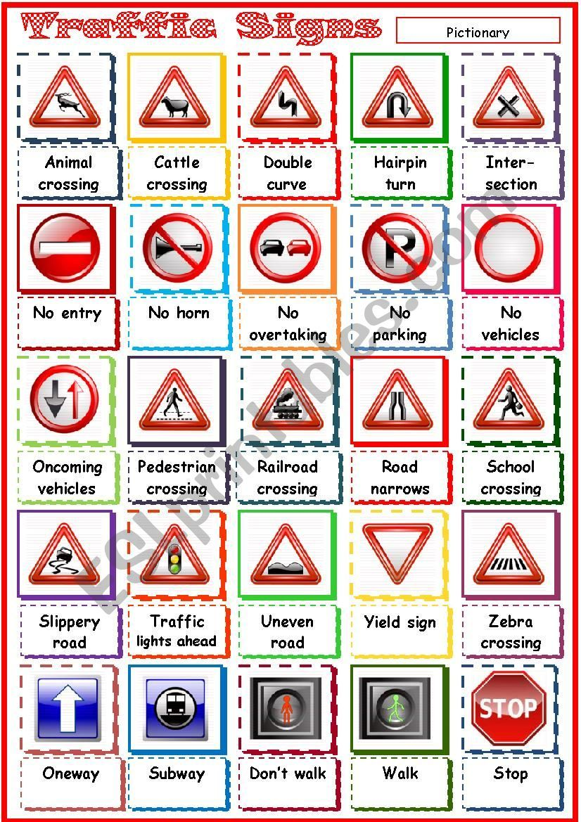 Pictionary on Traffic Signs. Maybe you find it useful