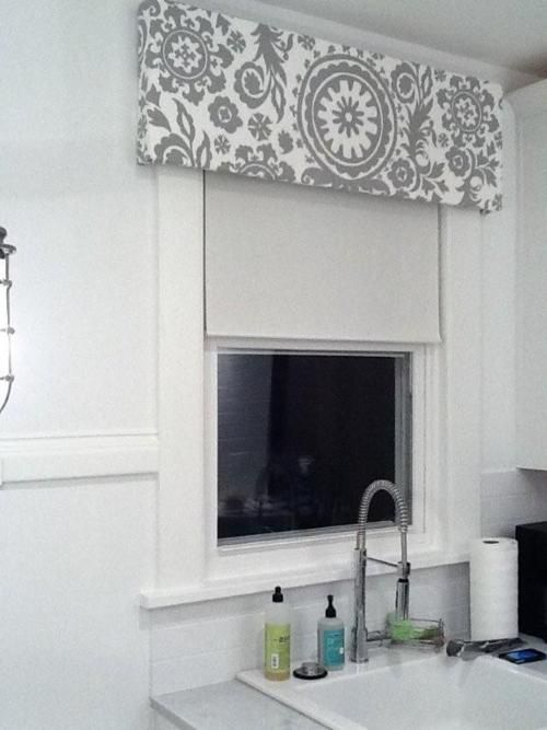 simple roller shade with graphic print valance, nice and ...