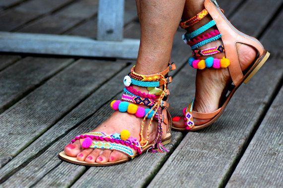 Photo of Pom Pom 'Let it Be' Festival Sandals by Borsis (handmade to order)
