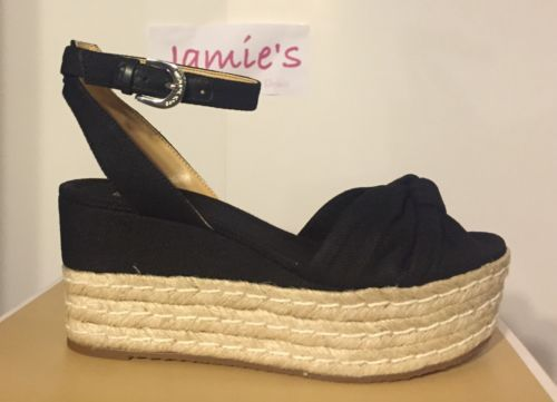 MICHAEL KORS Maxwell Mid Wedge BLACK CANVAS Platform Espadrille KNOT sz 7-9 NEW
