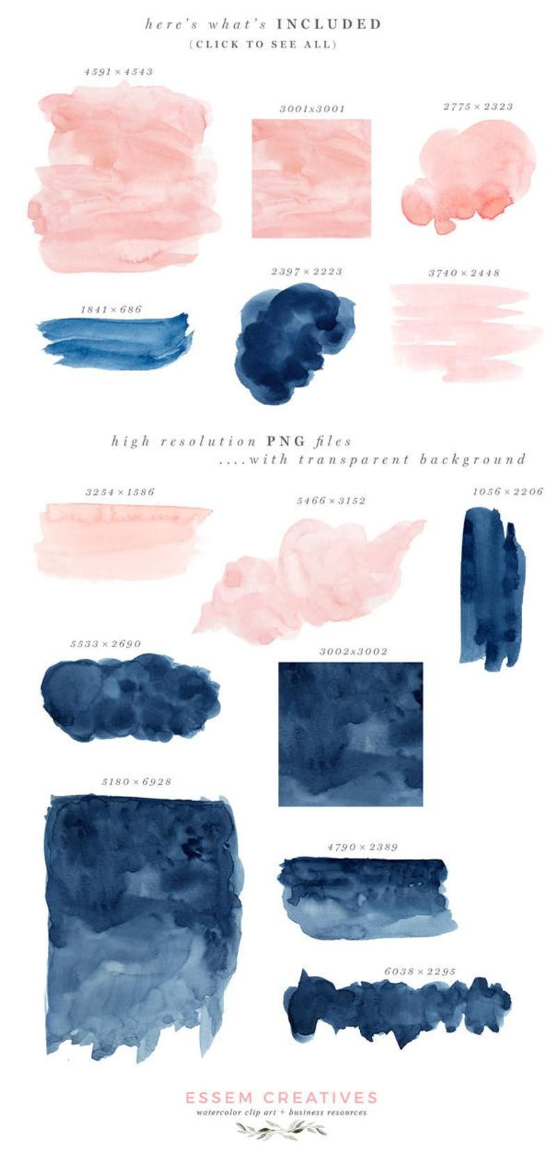 Navy Blue Watercolor Splash Clipart Watercolor brush stroke Navy Blue Logo Elements Watercolor elements Acrylic Paint Splash Paint Stroke