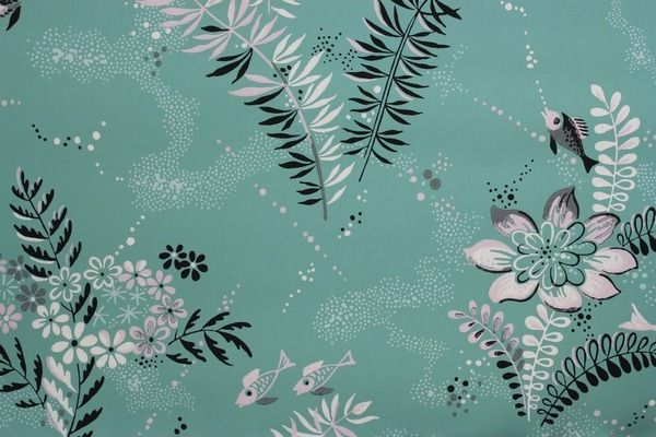 Rosie's Vintage Wallpaper - Fish and Flowers on Green Vintage Wallpaper, $95.00 (http://www.rosiesvintagewallpaper.com/fish-and-flowers-on-green-vintage-wallpaper/)