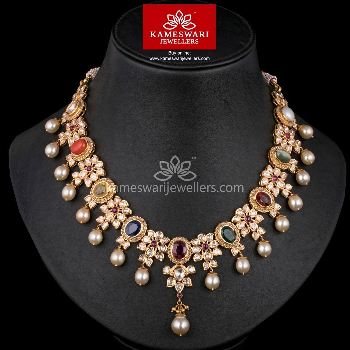 Maharani navratna polki haar pinterest necklace online indian