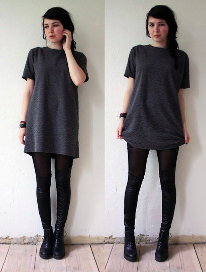 4ec3ea93c7f dark grey over-sized tshirt with black leggings and black combat boots.