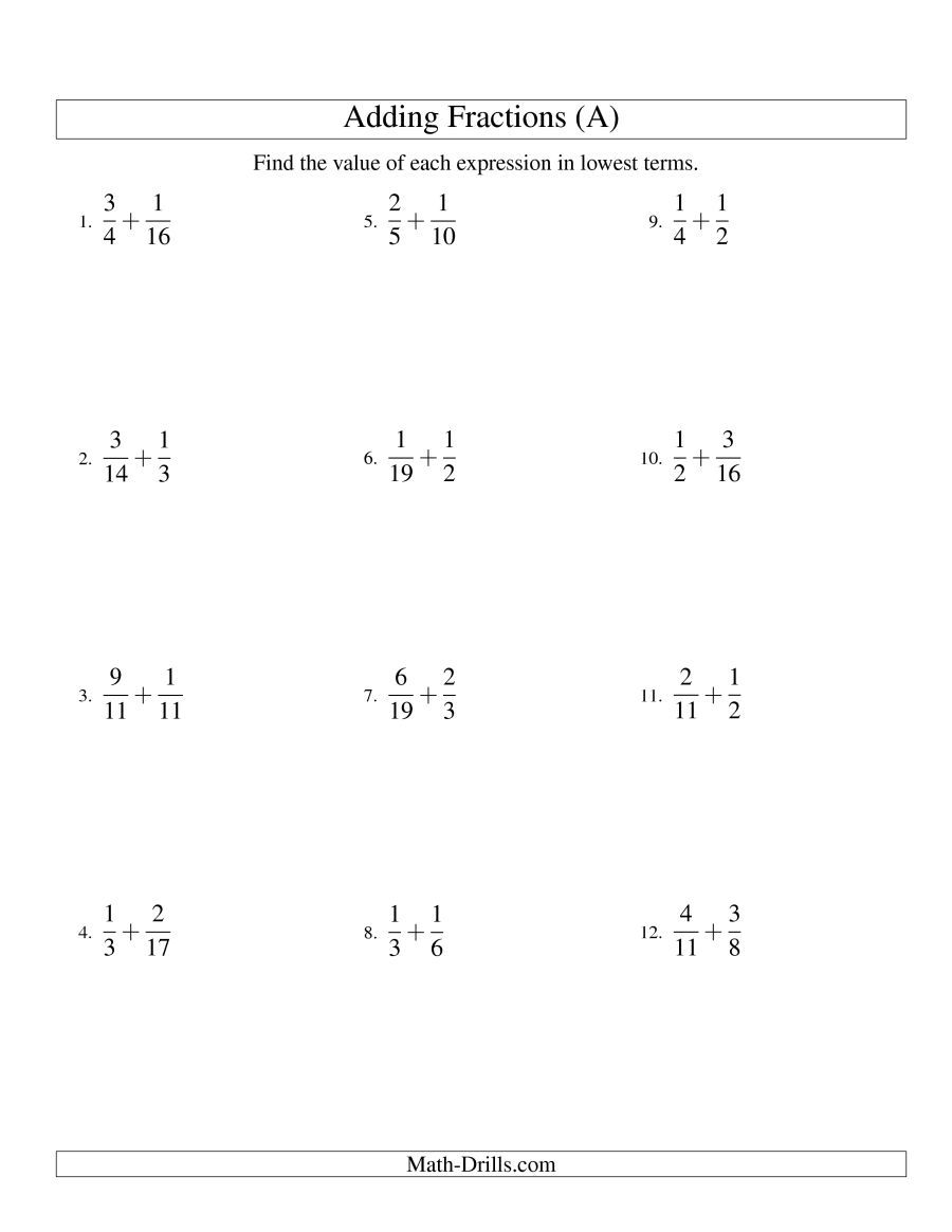 The Adding Fractions with Unlike Denominators (A) Math Worksheet ...