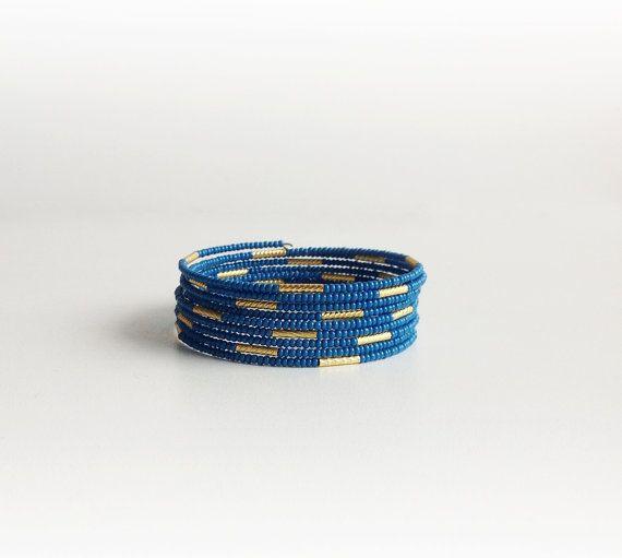 Navy Blue Seed Bead Cuff Bracelet Bangle Bracelet by ChooseLikeBuy
