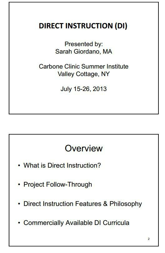 Direct Instruction Di Direct Instruction Verbal Behavior
