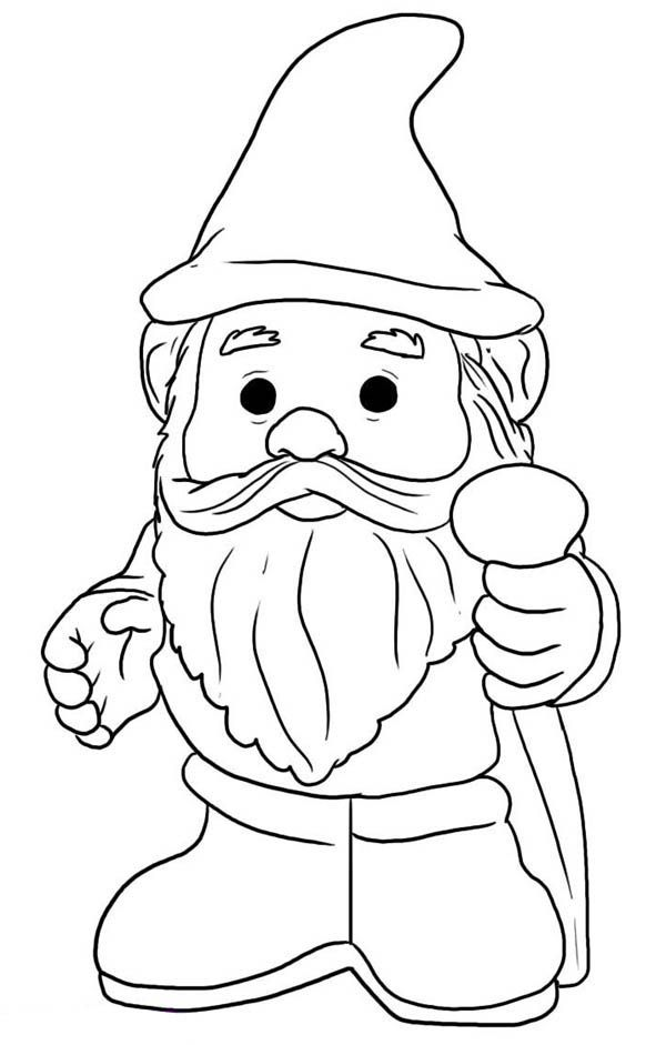 Gnome with Pointy Hat Coloring Page | Woodland Creatures ...