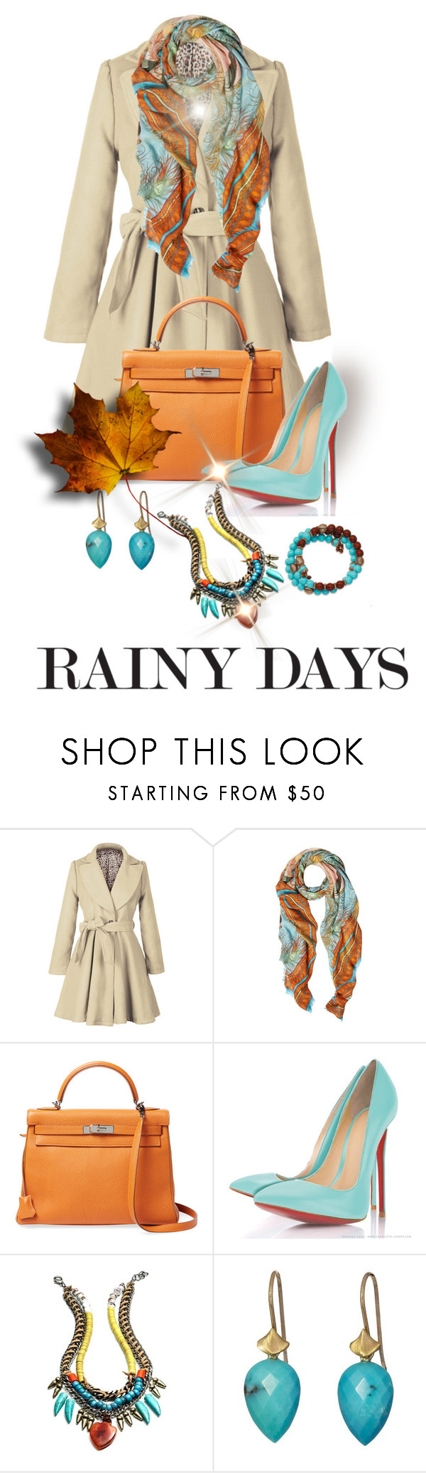 """""""Rainy Day Contest"""" by shamrockclover ❤ liked on Polyvore featuring Matthew Williamson, Hermès, DANNIJO, Annette Ferdinandsen and 1928"""