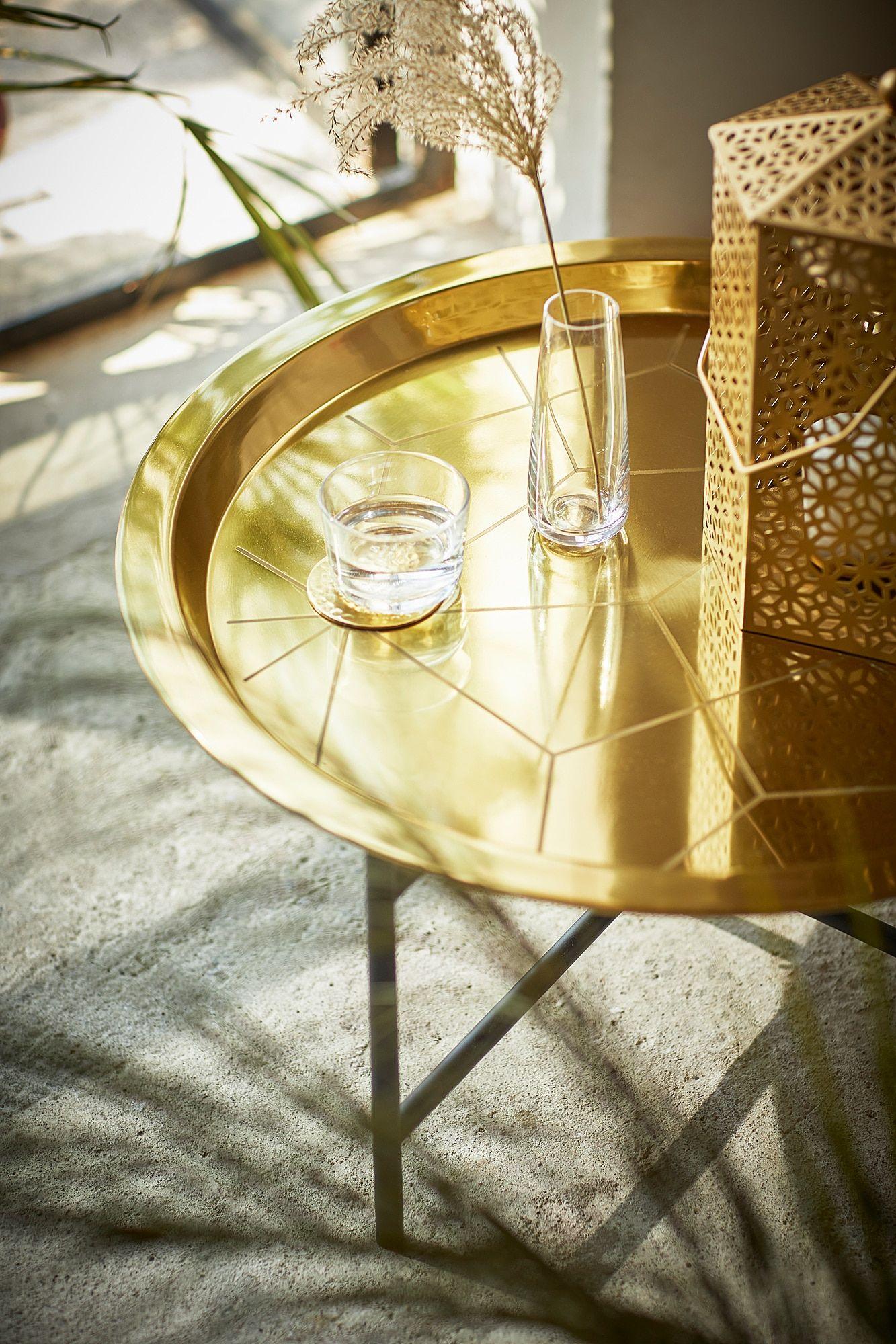 Ljuv Gold Colour Black Tray Table 65x32 Cm Ikea In 2020 Tabletttisch Tablett Tisch