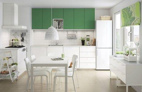 Flädie, cuisine blanche et verte d\u0027IKEA Kitchen Pinterest - cuisine verte et blanche