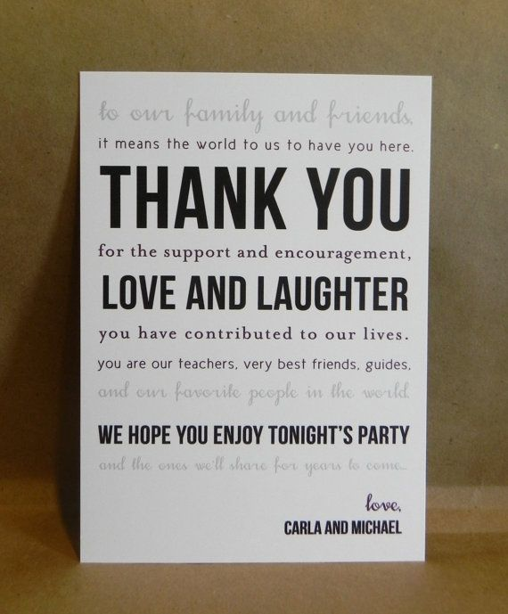Gift For Wedding Guests Thank You: Thank You Card Printed Place Setting / By