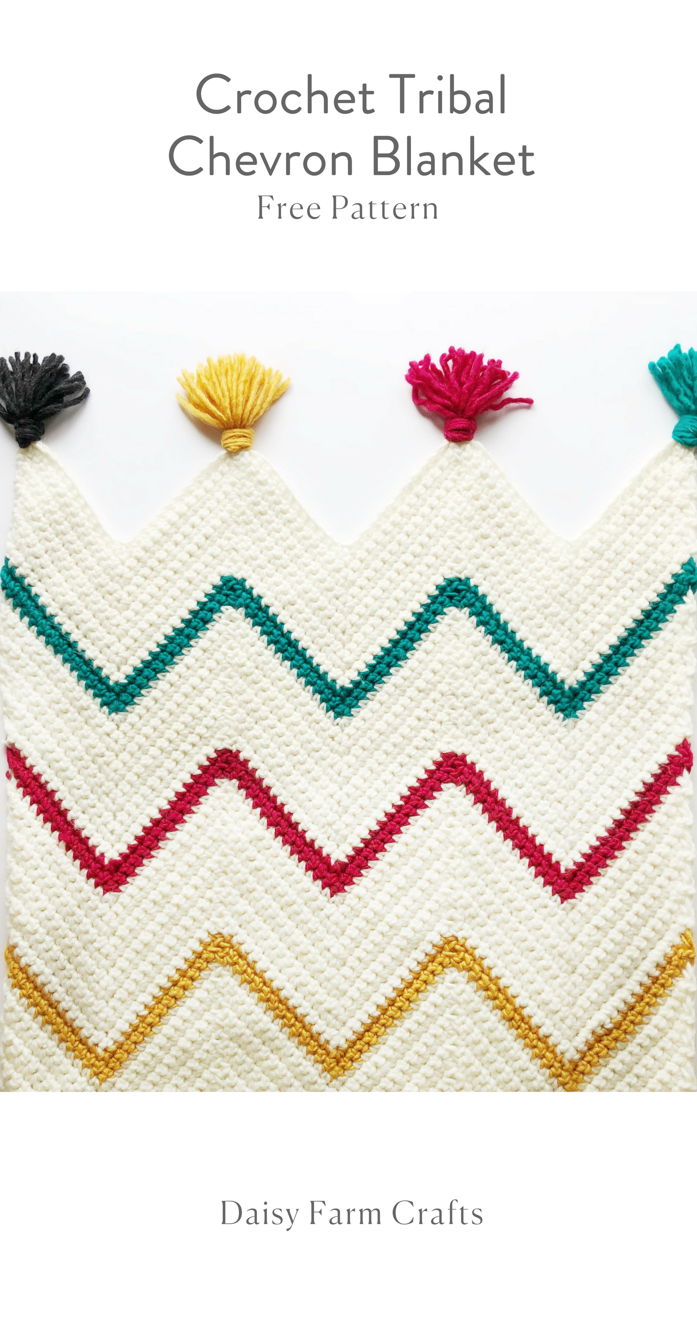 Free Pattern - Crochet Tribal Chevron Blanket | tejidos | Pinterest ...
