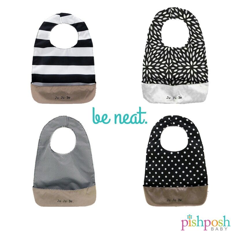 Looking sharp there, baby! Be Neat bibs by @jujubebags make mealtimes with baby as neat as possible. Magnetic closure for easy on-off, crumb pocket, flexible, machine washable, Teflon coated, antimicrobial, and...ta-da - REVERSIBLE! Makes a perfect gift. Available in 9 gorgeous colors.  http://www.pishposhbaby.com/ju-ju-be-be-neat.html