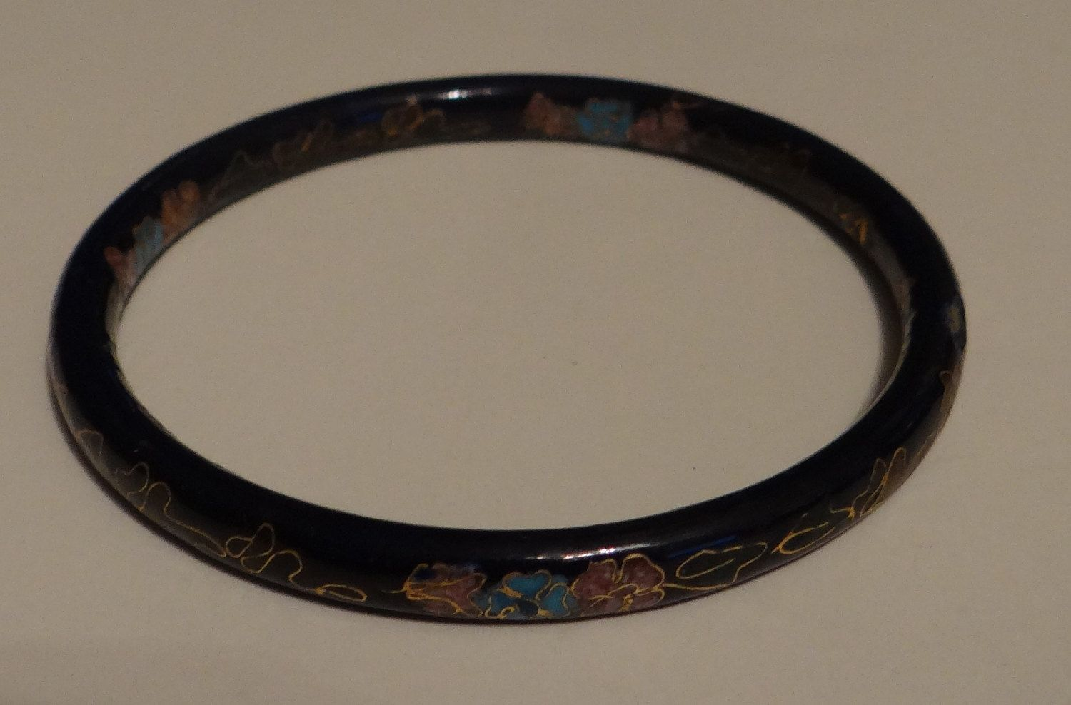 Vintage Cloisonne Bracelet Blue Hand Painted by AmericanJewelryVinta on Etsy