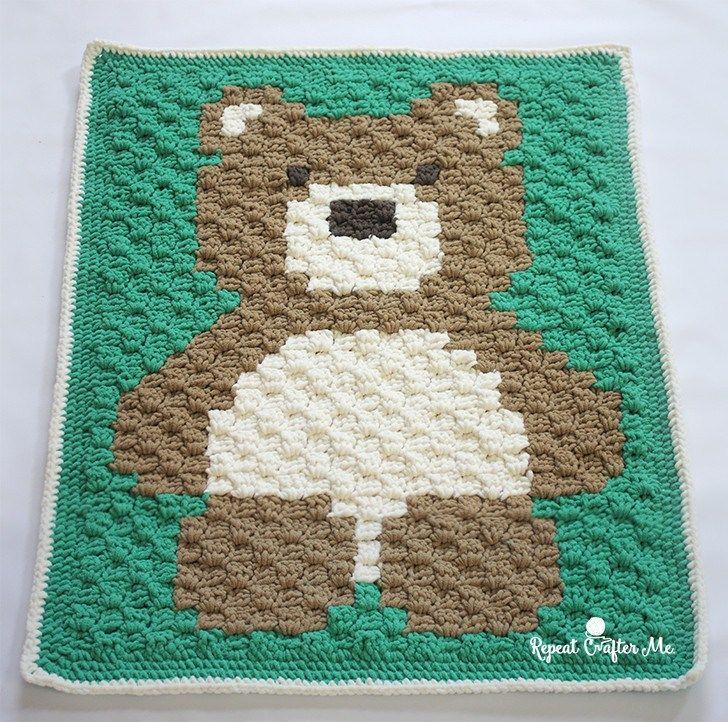 Crochet C2C Bernat Blanket Bear | Patterns | Pinterest