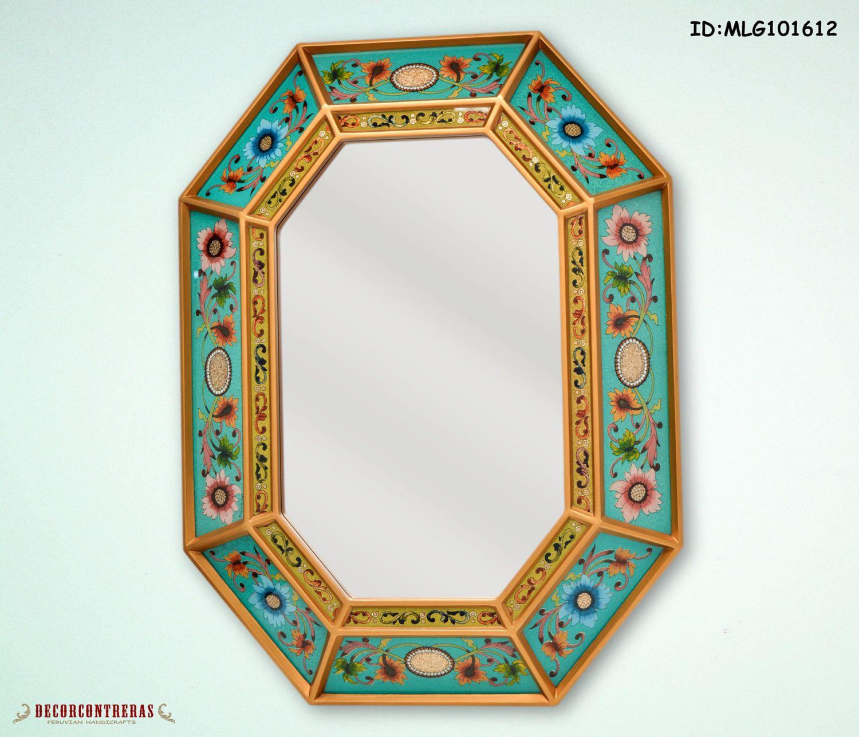espejo decorativo vidrio pintado tesoro floral andino