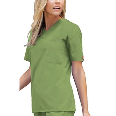 Dickies Everyday Scrubs Unisex V-Neck Solid Scrub Top - Color featured  here: Desert