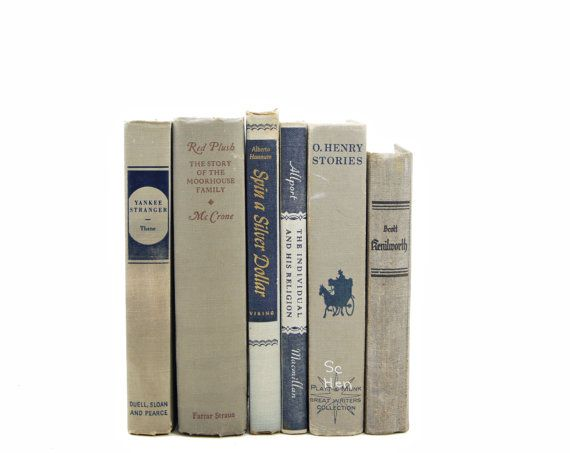 Rustic Taupe Gray Books, Antique Book Set, grey BOok Decor, Decorative Books…