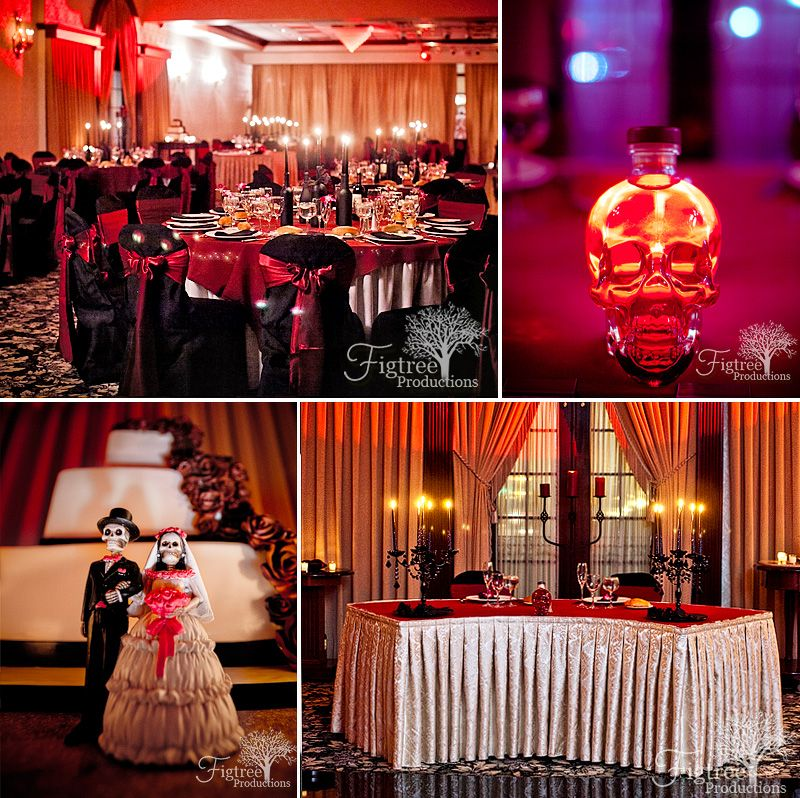 Goth Glam wedding details: Red and black details, skulls, day of the dead cake topper, black candelabras, red up-lighting, black candle centerpieces, and black chair covers with red accent bows. Photographed by Figtree Productions