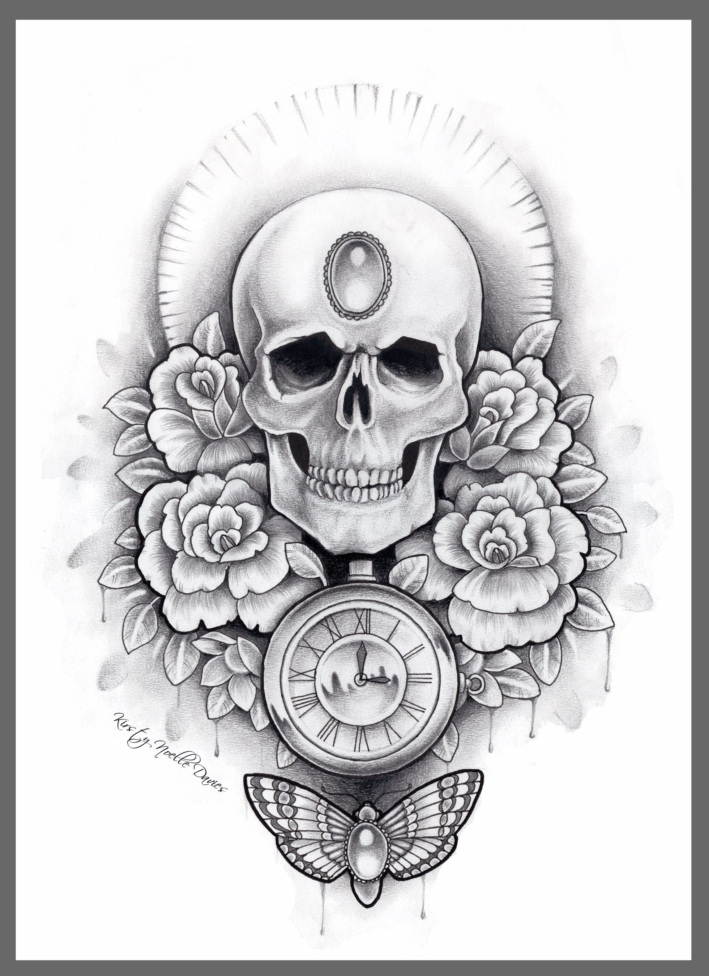 Skull, Stopwatch and Moth tattoo design flash by Kirsty